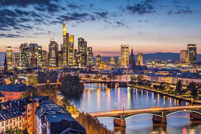 Frankfurt am Main, Germany Financial District skyline.
